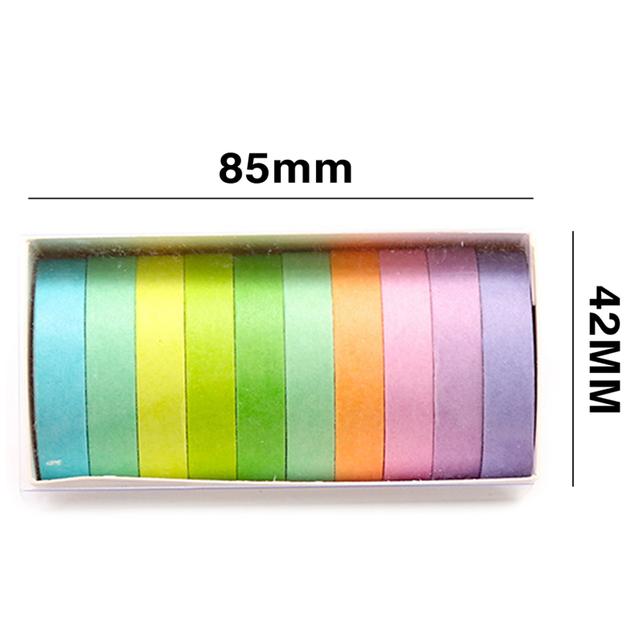 10pcs/pack Fall Rainbow Masking Washi Tape Set Paper Masking Washi Tape Japanese Stationery Kawaii Scrapbooking Supplies Sticker