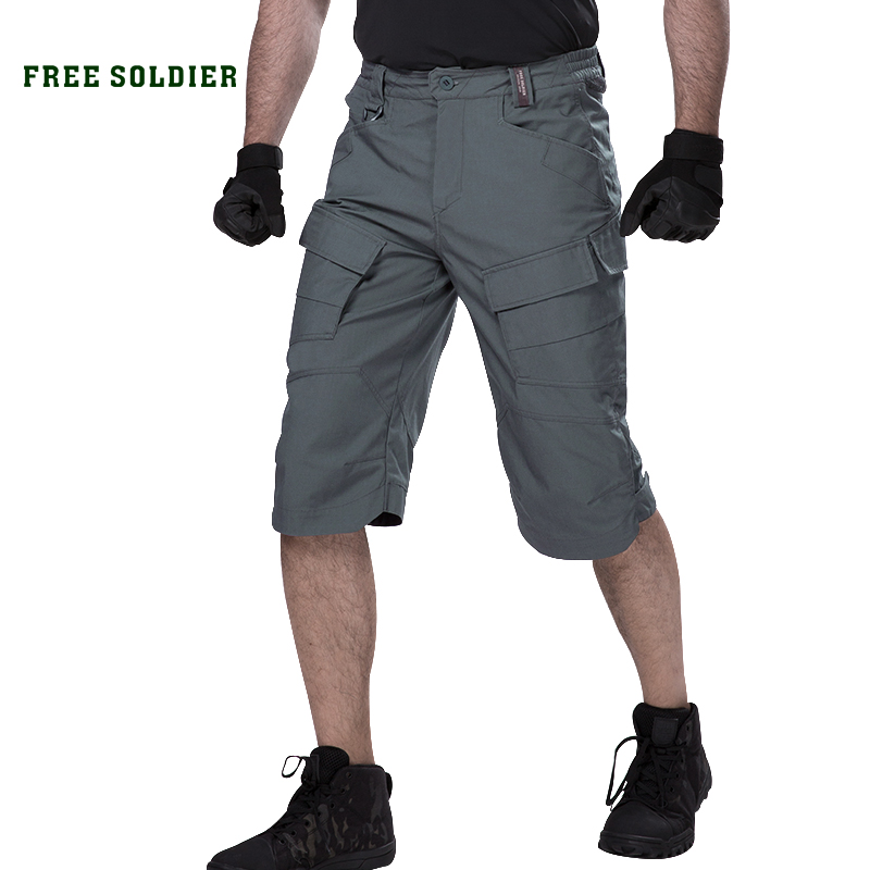 FREE SOLDIER outdoor sport hiking tactical cropped short pant men summer resistant multi pocket short for