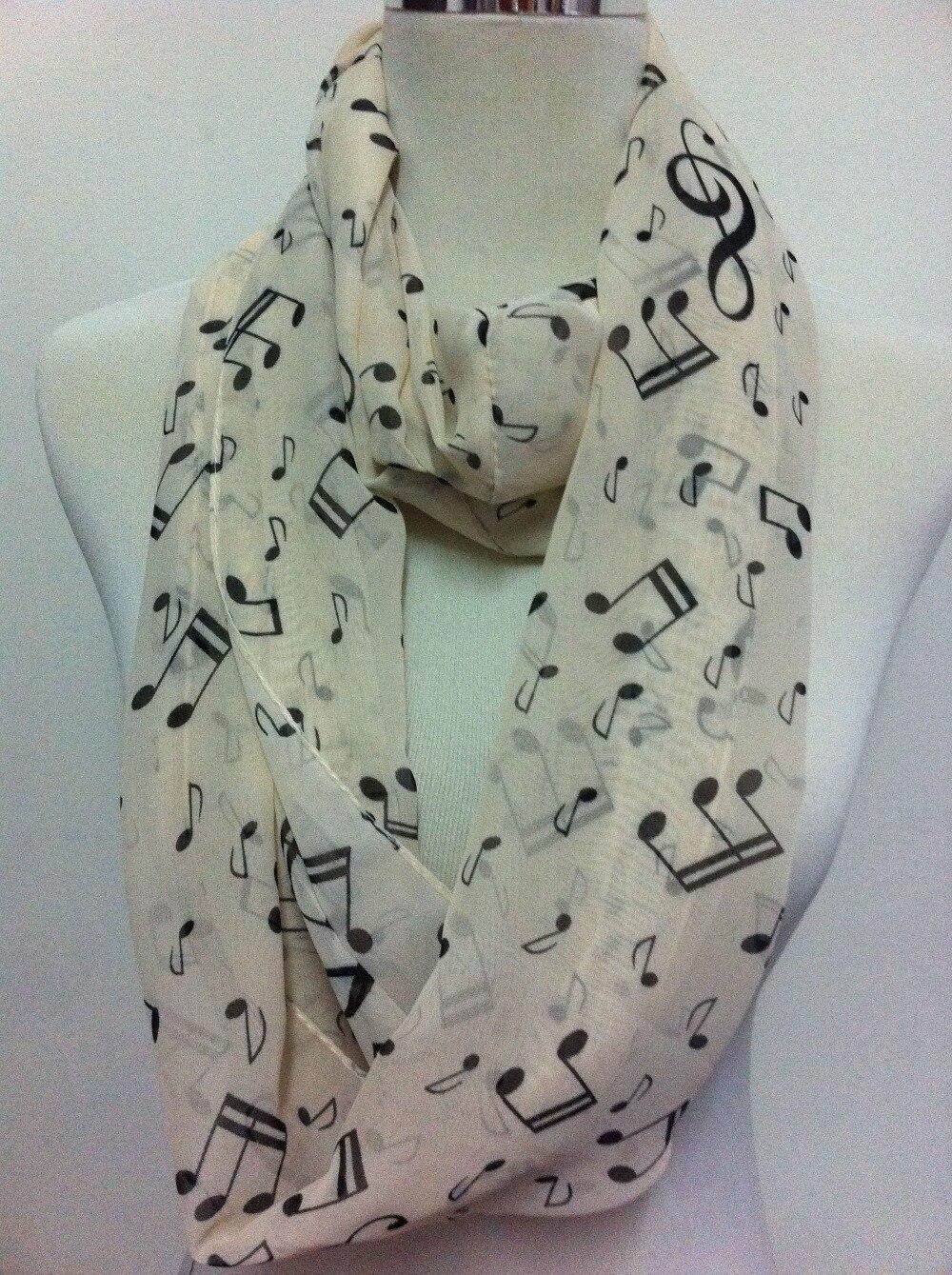Модный стильный женский шифоновый шарф с музыкальной нотой, 2-снуд, бесконечный круг, повседневный шарф, Новинка