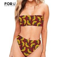 FORUDESGINS Women Swimsuit Push Up Vintage Floral Printing Swimwear Female High Waist Bikini Swim Suit Woman Thong Sexy Swimming
