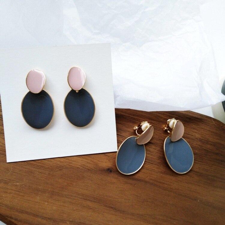 Korean Enamel Metal No Ears Hole Earrings Creative Irregular Round Oval Clip Earrings Without Piercing For Women Girls