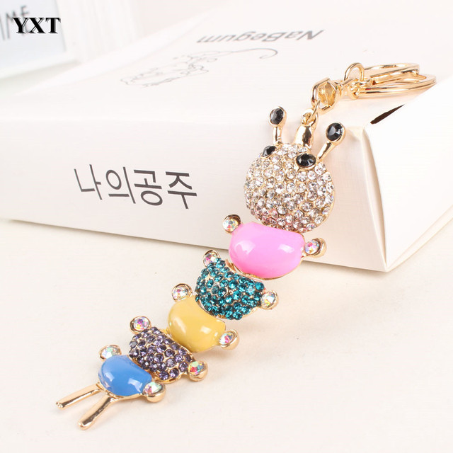 Centipede Caterpillar Keyring Multicolor Rainbow Charm Pendant Crystal  Purse Bag Key Chain Cute Gift For Lover Friend 5b140186e