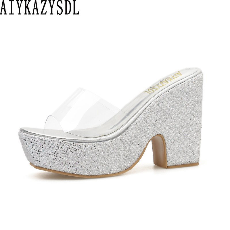 Wedding High Heels Sandals: AIYKAZYSDL Women Clear Transparent Sandals Mules Slides