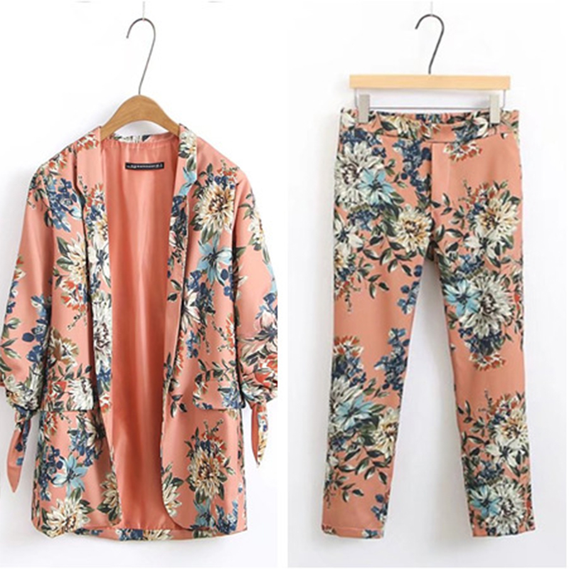 Suit Female Pants Suit 2019 Summer New Women's Fashion Print Long-sleeved Small Suit Jacket Casual Pants Two-piece