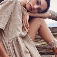 Повседневный однотонный минималистский свитер прямое платье женское осеннее платье с круглым вырезом на пуговицах с коротким рукавом из х...