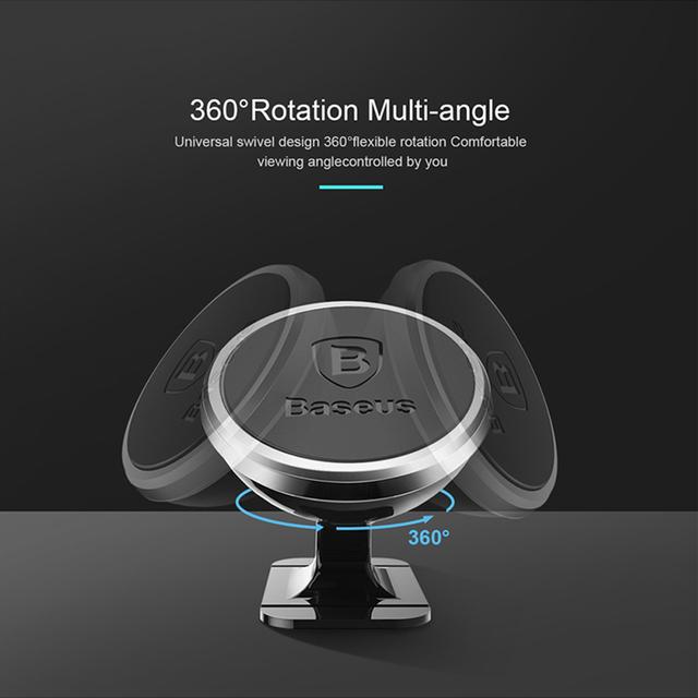 Tenedor redondo del teléfono del coche de la aleación magnética de la rotación 360
