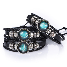 NEW Fashion 12 Constellations Leather Zodiac Sign with beads