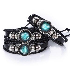 Nova moda 12 constelações de couro signo do zodíaco com contas punk bangle pulseiras para meninos jóias acessórios viagem presentes