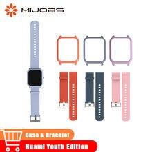 58da36d26d7f Mijobs 20mm deportes pulsera de silicona Correa delgada colorida marco  joven pulsera funda para Xiaomi Huami Amazfit Bip BIT rel.