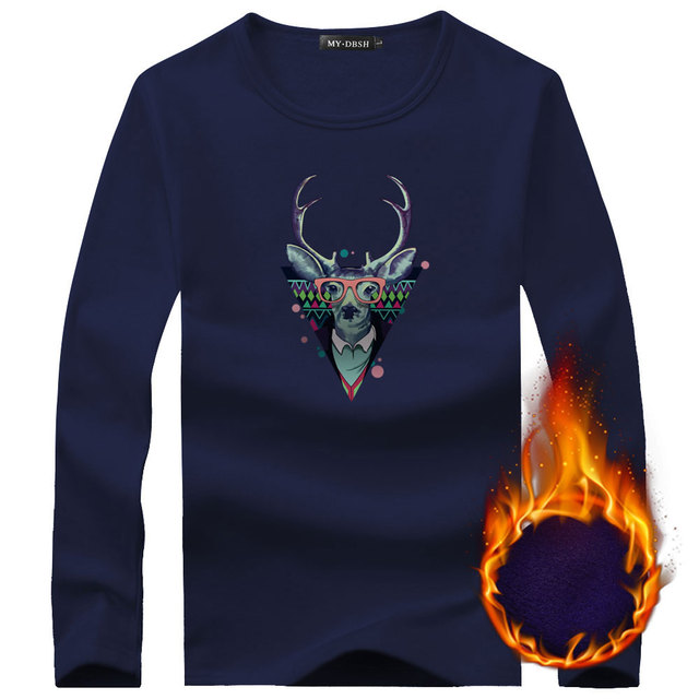 New Style Mens Underwear Shirt Winter Deer Printed Warm Thermal Undershirts Plus Velvet Basic Tops Man Cotton Undershirt Tshirt