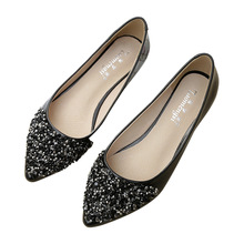 Korean Skinny Womens Shoes 2019 Summer Sequin New Arrival Work OL Fashion Pointed Toe Slip-on Flats Big Size YX0023