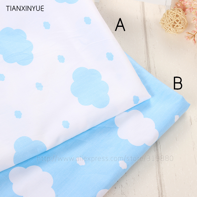 Many size Blue clouds Fabric DIY baby pillow patchwork Sewing cotton fabric for Home Textile Bedding Quilting fabric