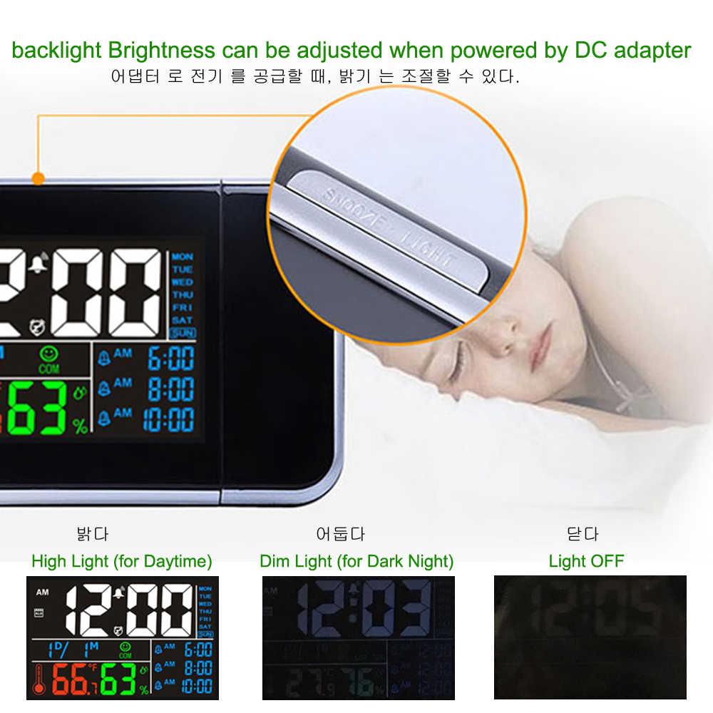 Подарок Идея Красочный светодиодный цифровой проекционный мультфифункциональные часы термометр влажности гигрометр Рабочий стол Время проектор календарь