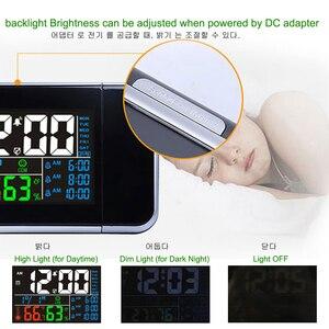 Image 4 - ギフトアイデアカラフルな led デジタルプロジェクションアラーム時計温度温度計湿度湿度計卓上時間プロジェクターカレンダー