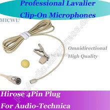 цена на MICWL Beige Wireless Lavalier Lapel Omni Directivity Microphone for Audio-Technica Mic System Hirose 4Pin plus