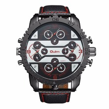 Oulm Brand 3233 Mens Big Face Watches 4 Time Zone Leather Band Casual Quartz Watch Atmospheric