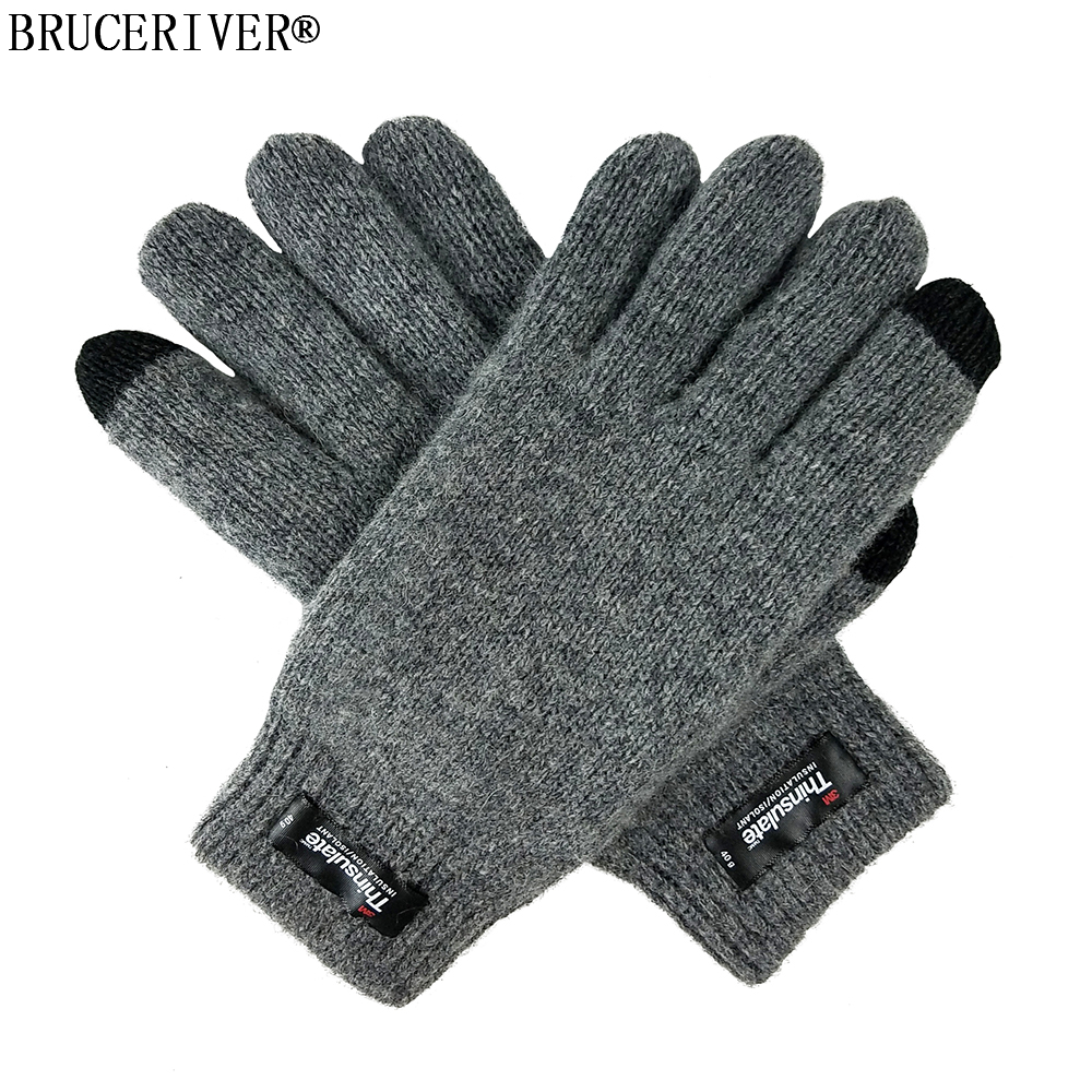 Bruceriver Women's Pure Wool Knitted Touch Screen Gloves With Thinsulate Lining And Rib Cuff