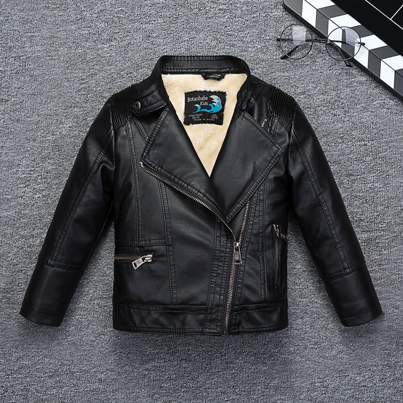 Fleece Thicken Warm Boys Girls Leather Jacket with Fur Collar for Autumn Winter Kids Motor Coat Bomber Children's Clothing thick fur collar boys girls leather jacket for autumn winter kids warm fleece stylish coat bomber kids jacket toddler girl