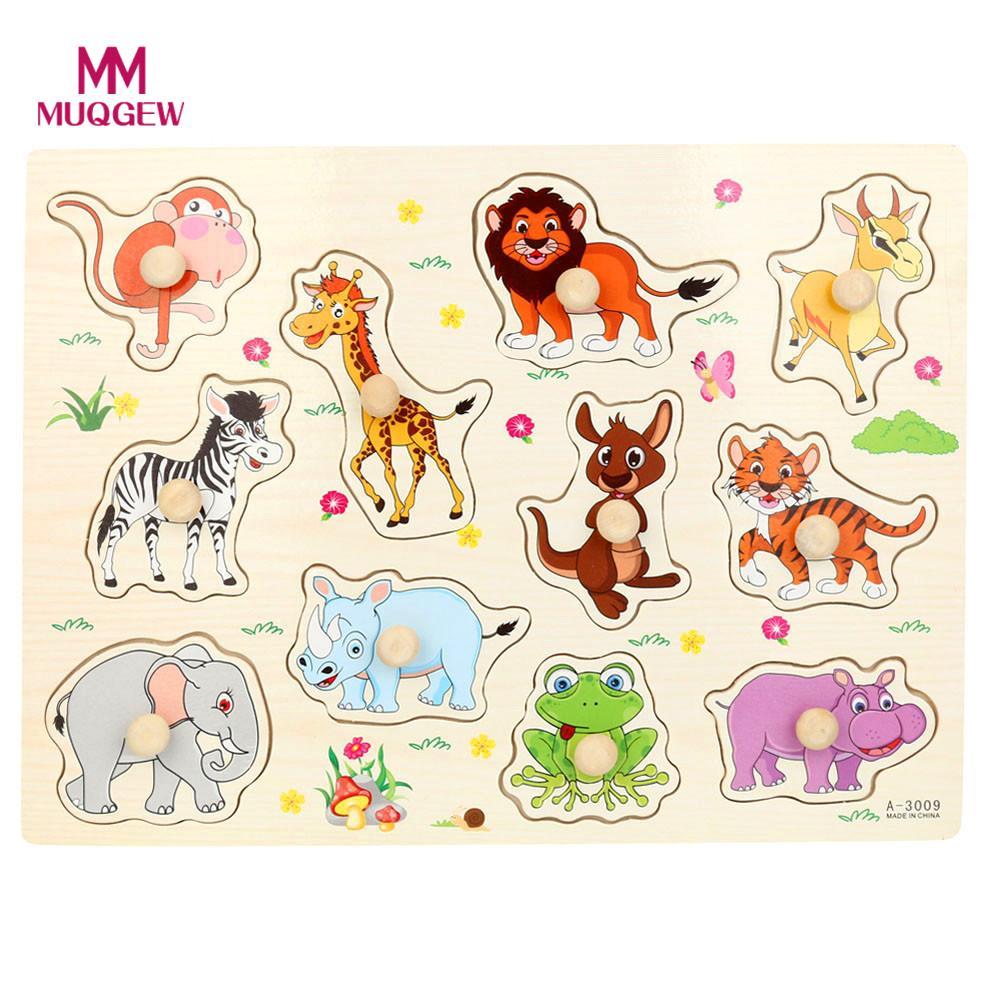 Новые 2017 детские, для малышей животного деревянный привлекательные раннего обучения ручной головоломки пластина Игрушечные лошадки для де...