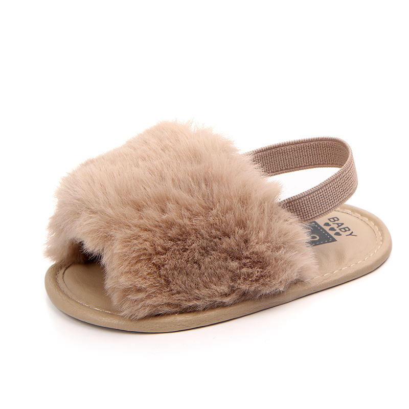 Infant Baby Sandals Soft Sole Plush faux fur Baby Shoes Clogs Elastic Band Toddlers Slippers Prewalkers Baby Boy Girl Shoes