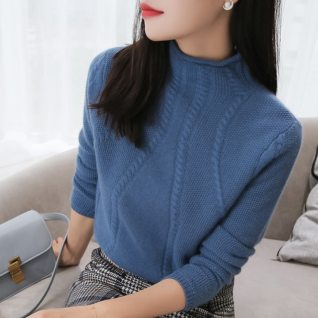 100% Pure Goat Cashmere Knitted Sweater Women High Quality Turtleneck  Pullover 5Colors Female Winter Fashion Clothes Girls Tops eaed84d0d