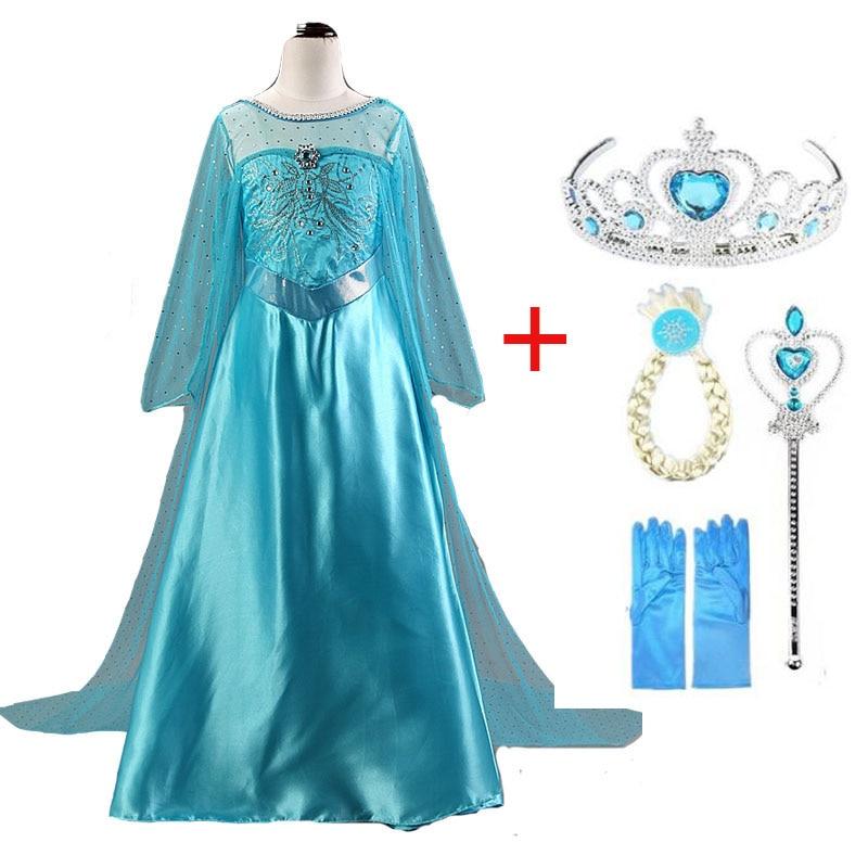 2020 New Elsa Dress Girls Party Vestidos Cosplay Girl Clothing Anna Snow Queen Print Birthday Princess Dress Kids Costume 6