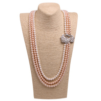 Multilayer Crystal Couple Swan Connectors Mix Colors Pearl Necklace Natural Freshwater Shell Peal Beads Charms Long
