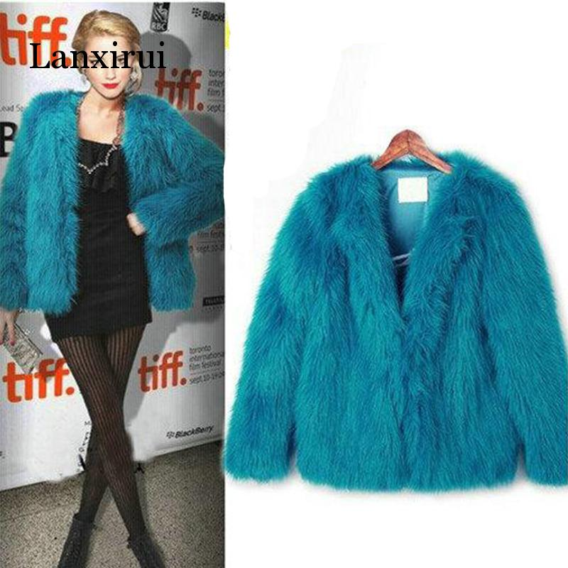 4XL 5XL New Arrival Trendy Candy Faux Fur Coat Women Fashion Slim Casual Party Jacket Coats
