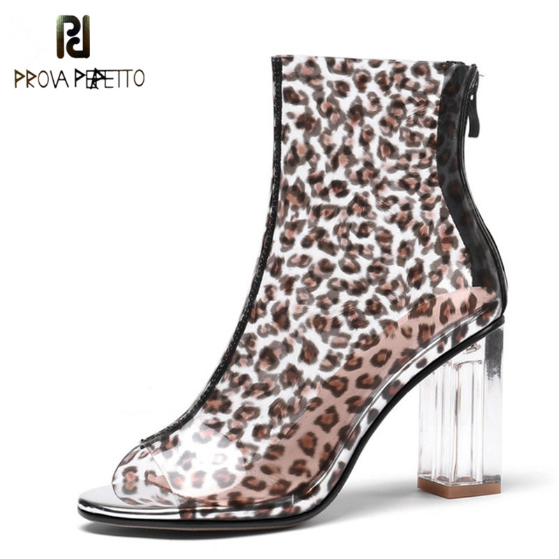 Prova Perfetto Sexy Women Summer Ankle Boots High Heels Peep Toe Leopard Party Wedding Shoes Woman Ladies Basic Boots SandalsProva Perfetto Sexy Women Summer Ankle Boots High Heels Peep Toe Leopard Party Wedding Shoes Woman Ladies Basic Boots Sandals