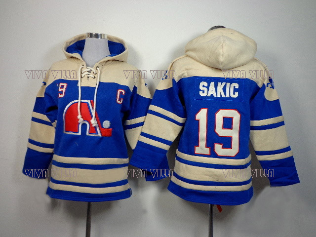 цена на Joe Sakic 19 Quebec Nordiques Hoodies Jersey Stitched Any Name Any Number Hockey Jersey Hoodie Sports sweater S-4XL VIVA VILLA