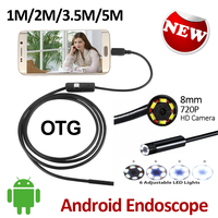 2MP HD720P 8mm Android USB Endoscope Camera 1M 2M 3 5M 5M Waterproof OTG Flexible Snake