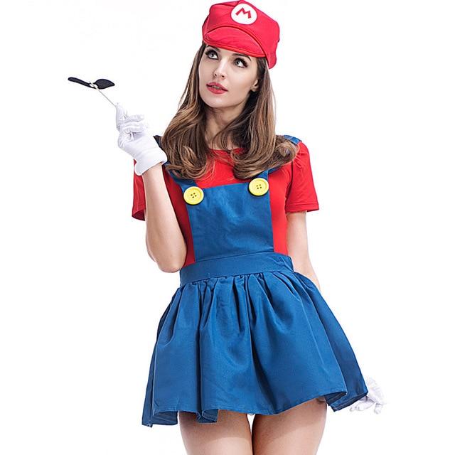 Bros Luigi Sexy Robe Costume Mario Vêtements Femmes Filles Cosplay Super Plombier Haut Halloween Fête 29WHeDIYE
