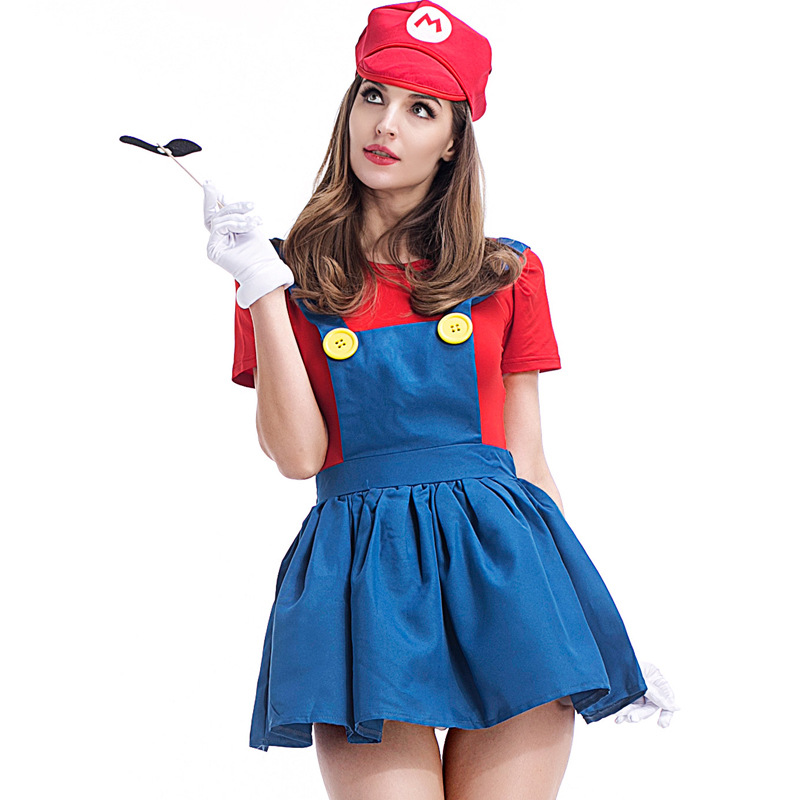 Women Top Super Mario Costume Luigi Costume Clothing Sexy Plumber Costume Super Mario Bros Girls Halloween Party Cosplay Dress