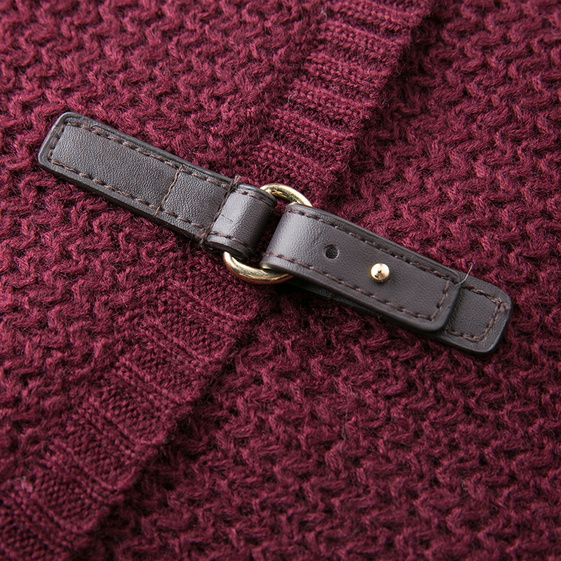JOGTUME jesenski zimski pleteni džemper za žene Modna kožna kopča - Ženska odjeća - Foto 6
