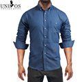 2016 Denim Men Shirt Casual Turn-down Collar Chemise Homme Long Sleeve Brand Jeans Shirts For Men EU SIZE S-XXL Z2455