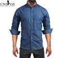 2016 Homens Denim Camisa Casual Turn-down Collar Chemise Homme Marca de Jeans Camisas de Manga Longa Para Homens TAMANHO DA UE S-XXL Z2455