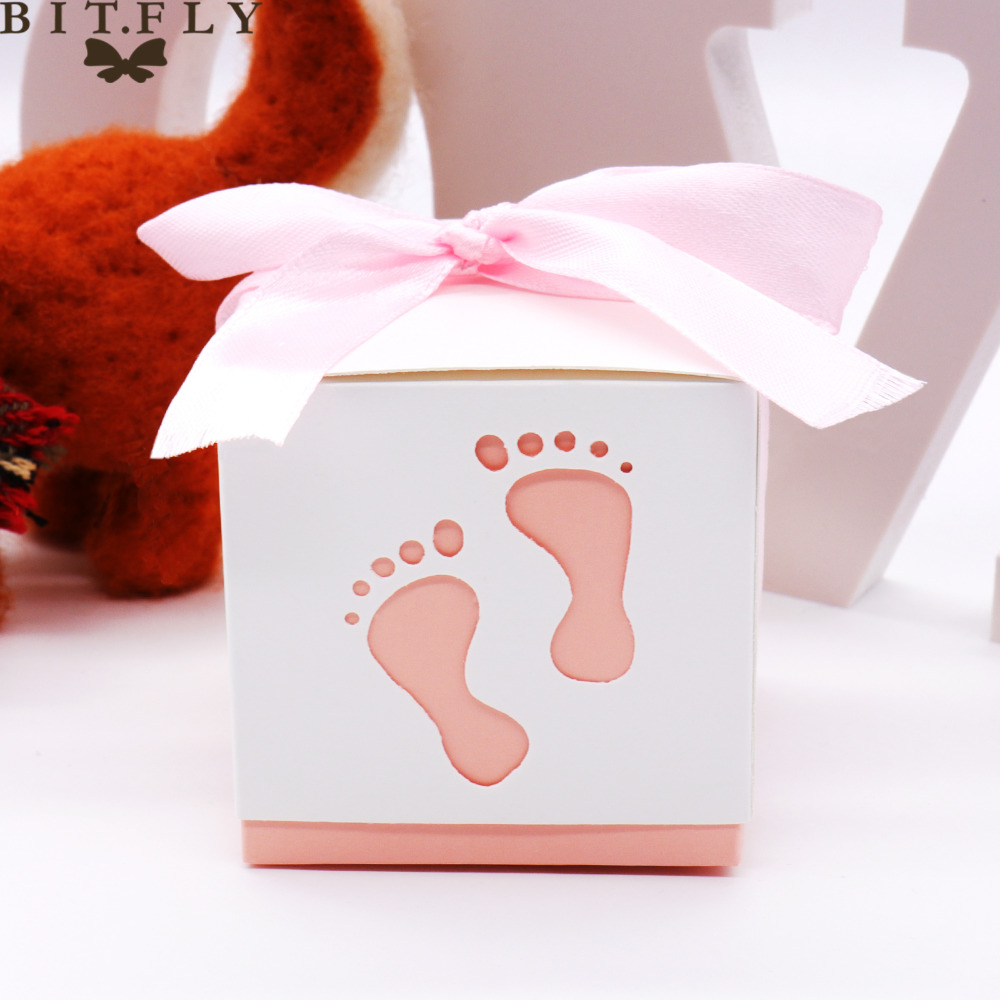 10pcs Baby Foot Candy Box Sweet Bag Baby Shower Footprints On The Beach Favour Free Ribbon For brithday wedding party baby gift