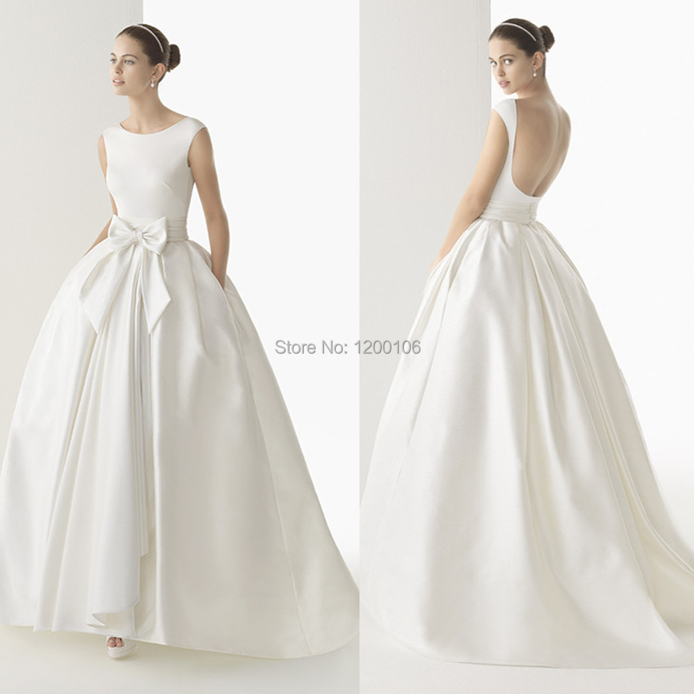 Elegant Scoop Backless with Bow Pocket Floor Length Ball Gown Backless Vintage font b Wedding b