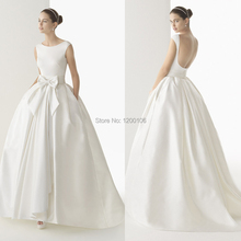 Elegant Scoop Backless with Bow Pocket Floor Length Ball Gown Backless Vintage Wedding Dresses 2014 Vestido