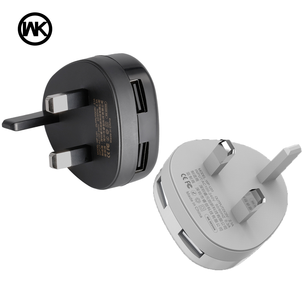 WK Design USB Mobile Charger Adapter for iPhone X 7 8 Plus Xiaomi Samsung UK Plug Mobile Phone Charger Accessories Cargador USB