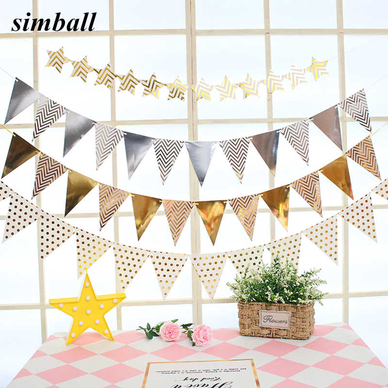 12 Flags 18cm Rose Gold Garlands Birthday Bunting Banners Pennant Baby Shower Wedding Garland Flags Party Decoration Supplies