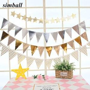Image 1 - 12 флагов, 18 см, гирлянды из розового золота, флажки баннеры на день рождения, украшения для детской вечеринки