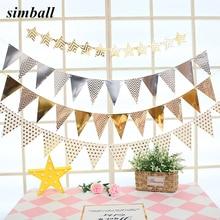 12 banderas de guirnaldas de oro rosa de 18cm, banderas de cumpleaños, banderín para Baby Shower, banderas de guirnalda suministros de decoración para fiesta
