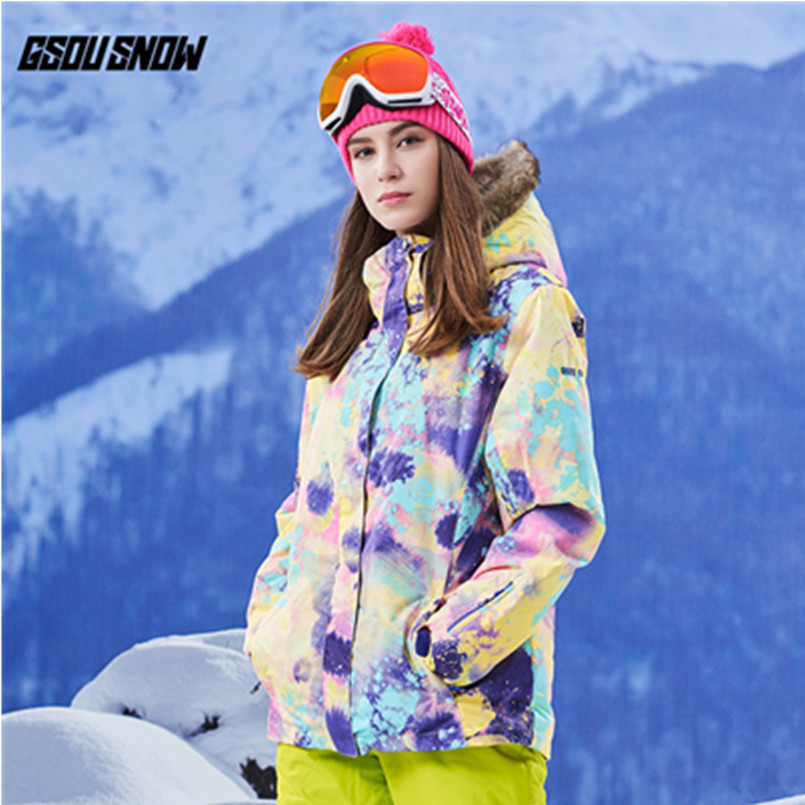 Gsou winter ski snowboard jacket women waterproof ski suit female sneeuw chaquetas de esqui cazadoras mujer snow clothes 2017 gsou ski jacket women snowboard winter snow jacket skiwear ski jas heren clothes esqui warm waterproof