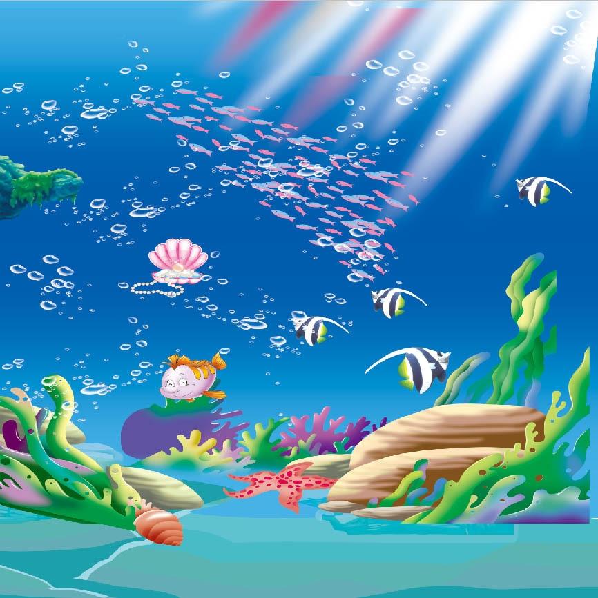 8x8FT Sunshine Under Sea Cartoon Fish Herd Coral Reef ...