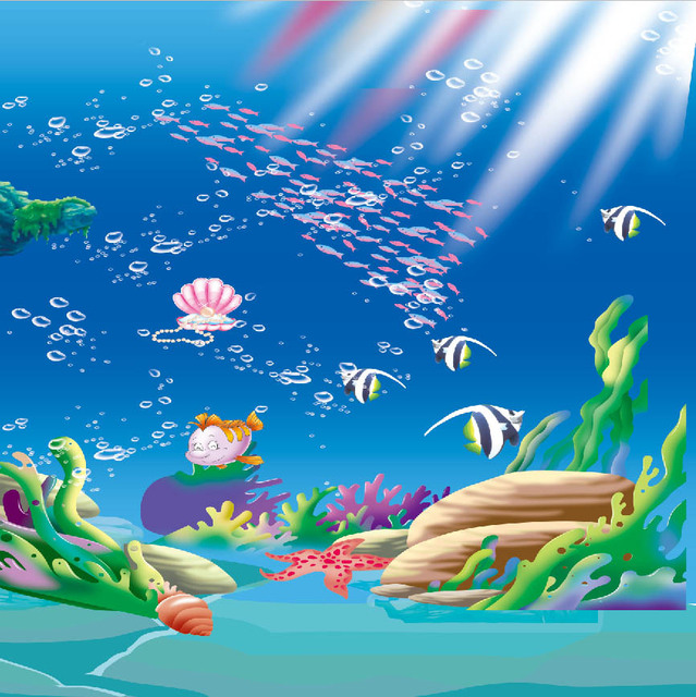 8x8ft sunshine under sea cartoon fish herd coral reef seabed kids