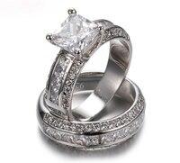 Sparkling Eternity Jewelry 14K White Gold Filled Simulated Diamond CZ Pave Set Big Band Engagement Wedding