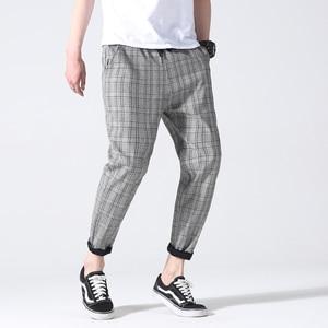 Image 5 - Drop Shipping Autumn Men Plaid Pants Casual Trousers Man Cotton Slim Fit Men Skinny Grid Joggers LBZ09