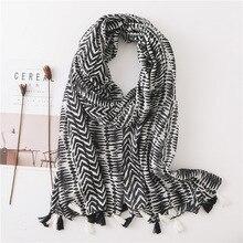 Giyu шарф роскошный бренд летний женский кисточкой черный белый хиджаб платок шарф обёрточная бумага пашмины платок для женщин шарф sjaal