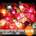 3 M 20 Led Cadena de Luz de Navidad Led de Colores 6 CM Linterna De Hadas Decoración Para la Fiesta de Cumpleaños Romántico Lámpara lumi luz noel